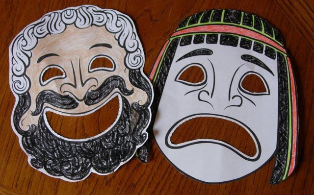 Greek theater masks ancient greece pinterest greek for Ancient greek mask template
