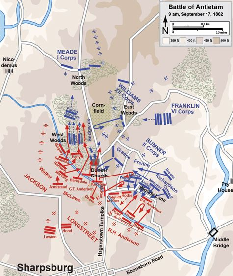 Map Of The Battle Of Antietam Of The American Civil War By Hal Jespersen
