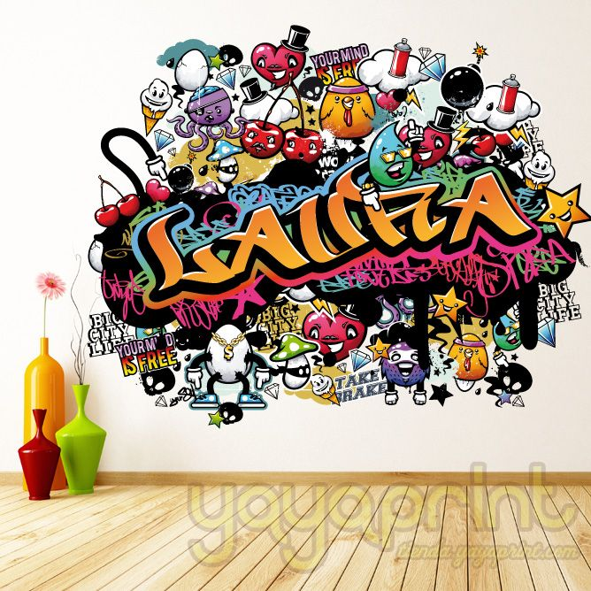 Vinilo decorativo de pared simulando graffitis - Graffitis en dormitorios ...