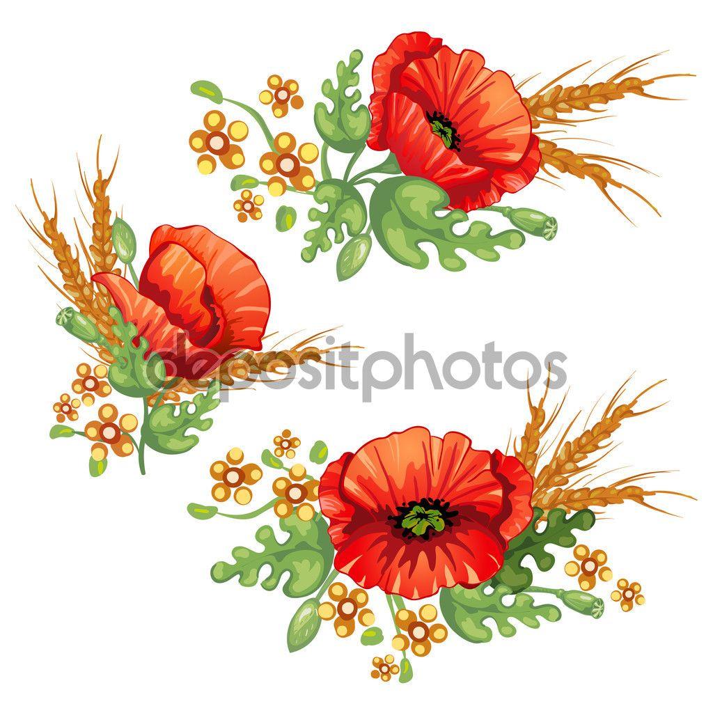 Bukiet Kwiatow Kwiaty Czerwone Maki I Klosy Pszenicy Poppy Flower Illustrations Posters Red Poppies