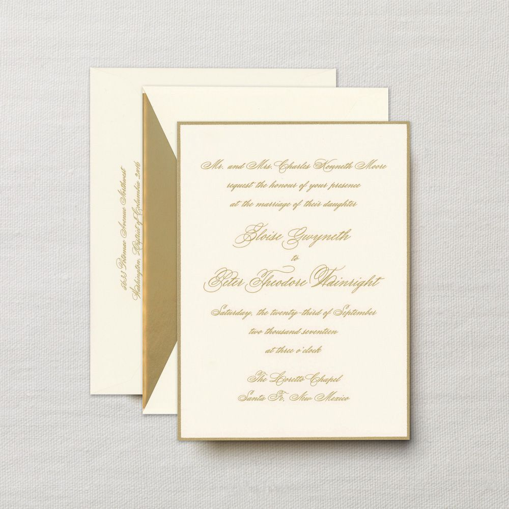 Engraved Embassy Biltmore Invitation with Gold Border | Wedding ...