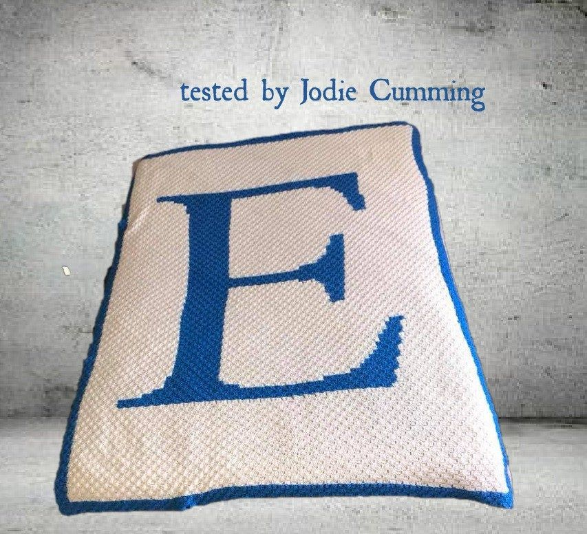 Letter E Twin Blanket, C2C Crochet Pattern, Written Row