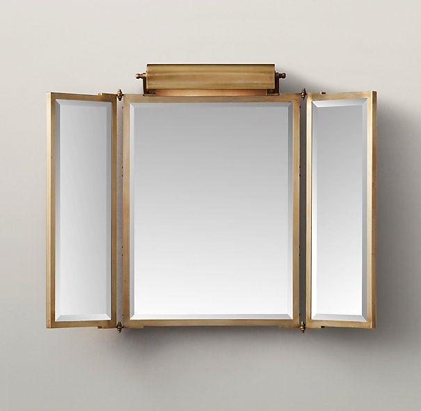 555 99 Tri Fold Lit Wall Mirror Mirrors Restoration Hardware For Bathroomsmaster