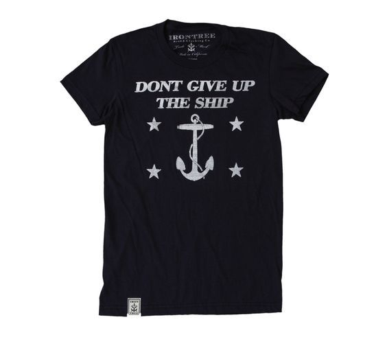 Dont Give Up The Ship: Women's Fine Jersey Short Sleeve T-Shirt in Navy: