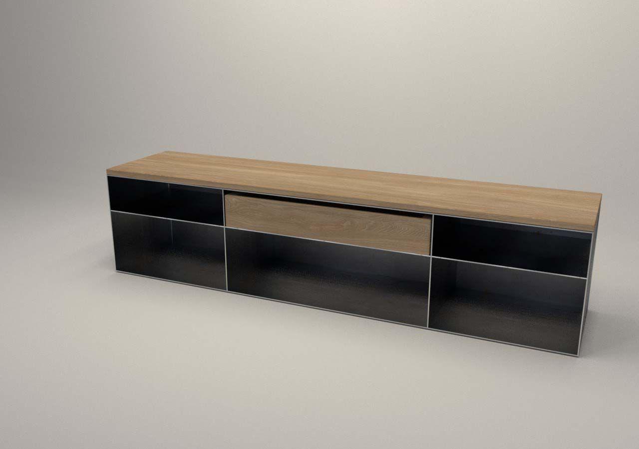 Bauhaus Holzregal design metallmoebel tv sideboard kaminholz aufbewahrung aus stahl
