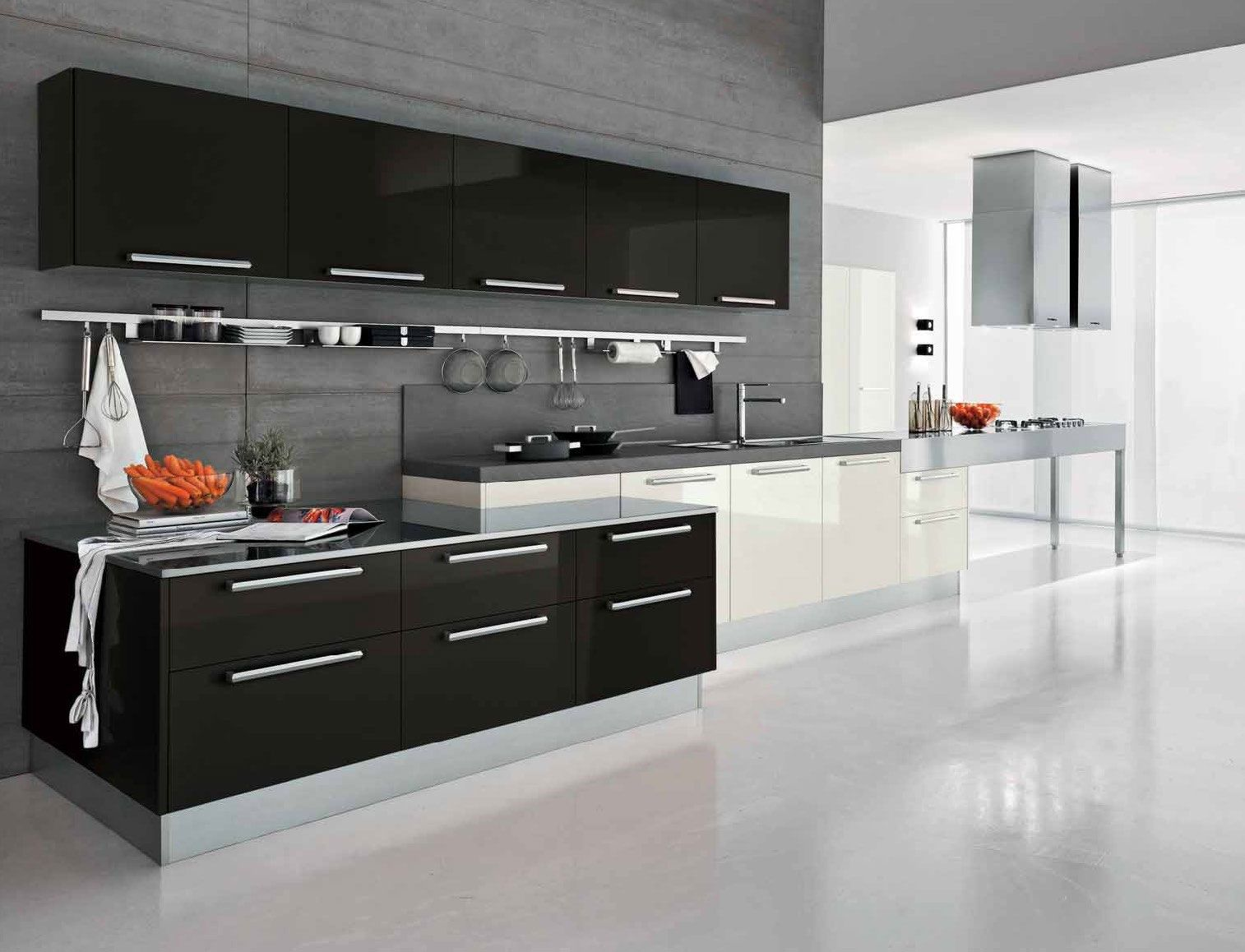 Fabulous Black And White Kitchen Color With Modern Cabinets In Sleek Design Completed Sink