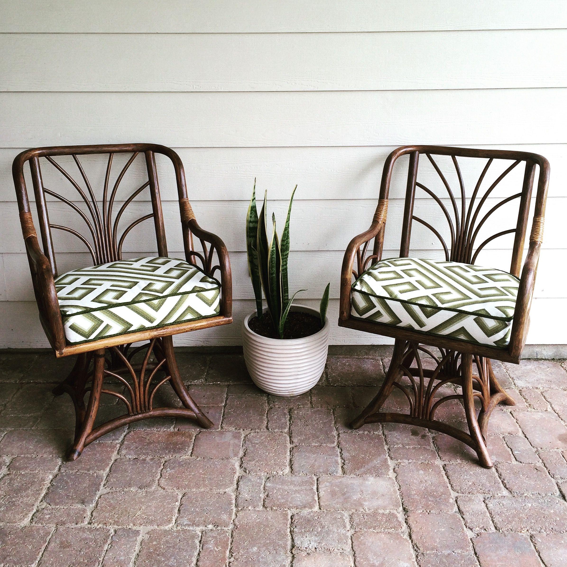 Gorgeous Bamboo Rattan Swivel Chairs Custom made cushions using
