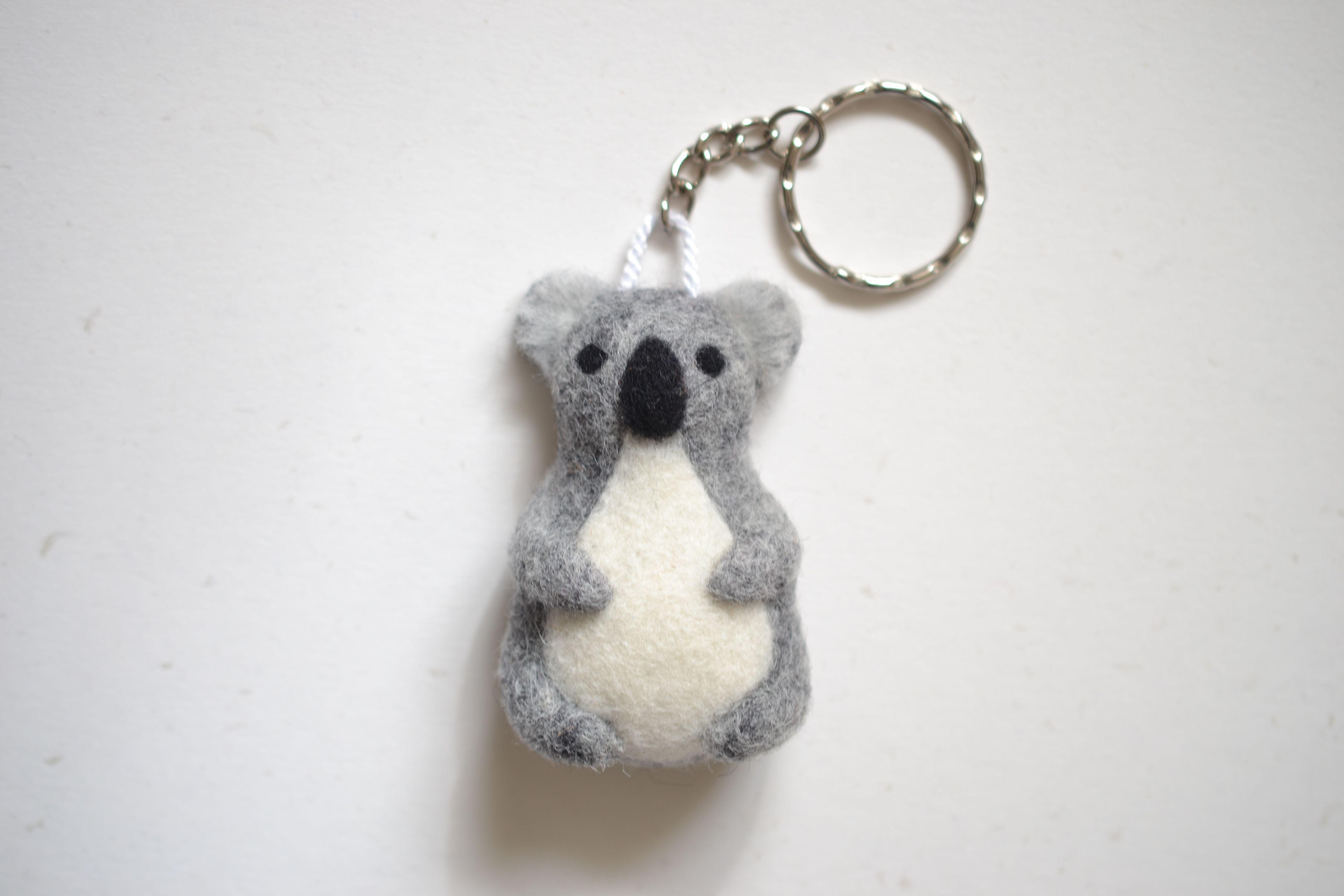 Needle Felted Koala Keychain    Handmade Keyring    Woolen