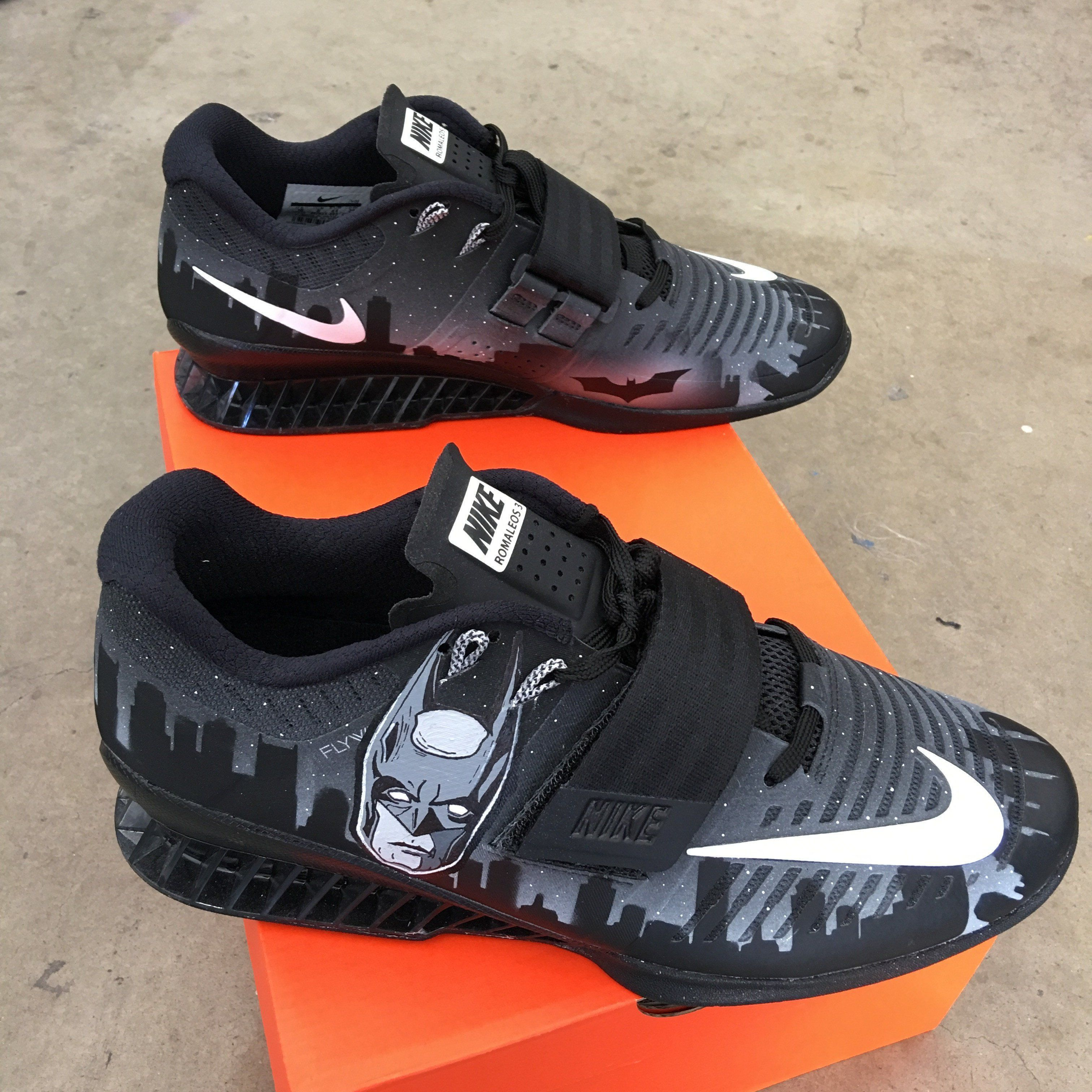 208c6e6fd721 These Nike Romaleos 3 have been painted in a Batman and Joker Theme. Gotham  City