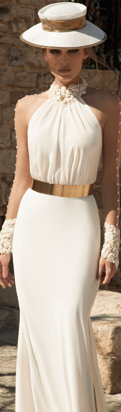 white halter dress with gold belt and seashell accents fashion dress