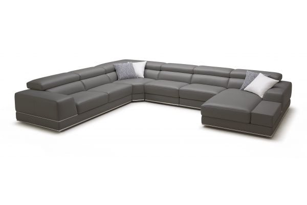 Bergamo Extended Sofa Elephant Gray Leather Reclining Sectional