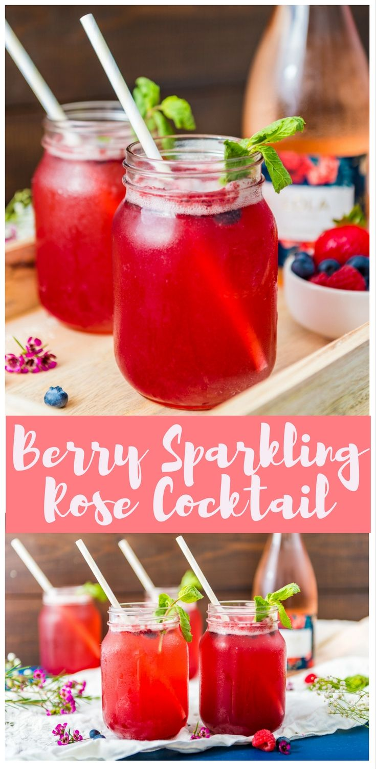 Berry Sparkling Rose Cocktail Recipe Refreshing Drinks Recipes Rose Cocktail Frozen Cocktail Recipes
