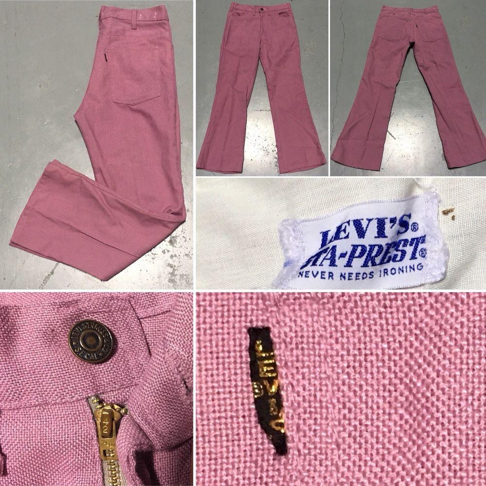 4363db41242 Vintage LEVI'S Big E Pants STA-PREST Talon 42 Zipper Mauve Purple 30 X 27  3/4 | eBay