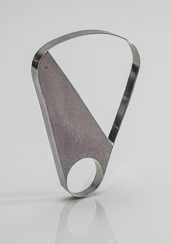 "Checha Sokolovic - Ring in stainless steel and cement - 3 X 2 X 1/4"". Size 8."