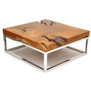 Mesa de centro em madeira r stica e alum nio loja de - Mesa de centro rustica ...
