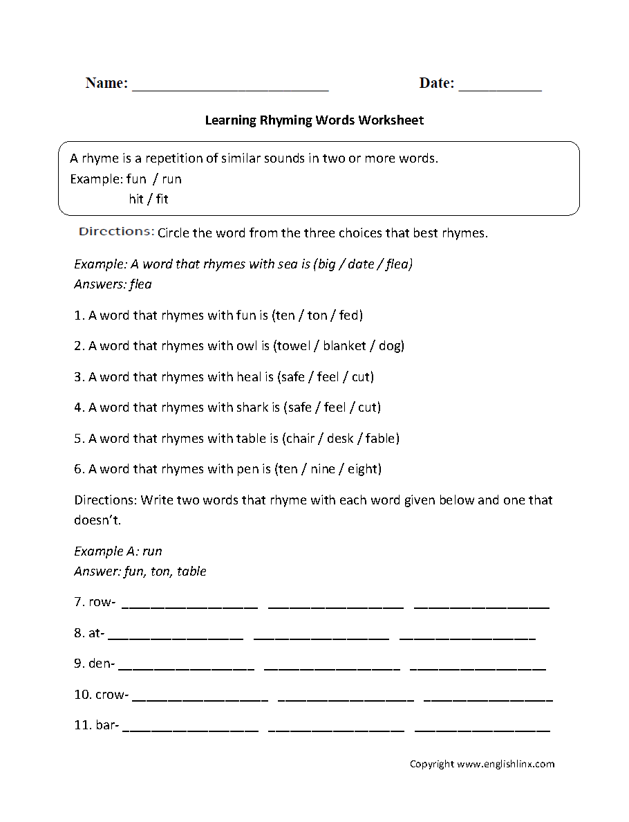 Worksheets Rhyming Words Worksheets learning rhyming words worksheet englishlinx com board students worksheet