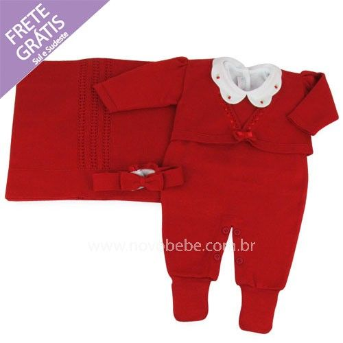 Saída de Maternidade em Linha Para Bebês com Bolero - Vermelho - Verivê
