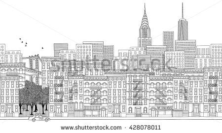 Hand Drawn Panorama Of New York City Skyline Cityscape Seamless Banner Suitable For Adult Coloring Books