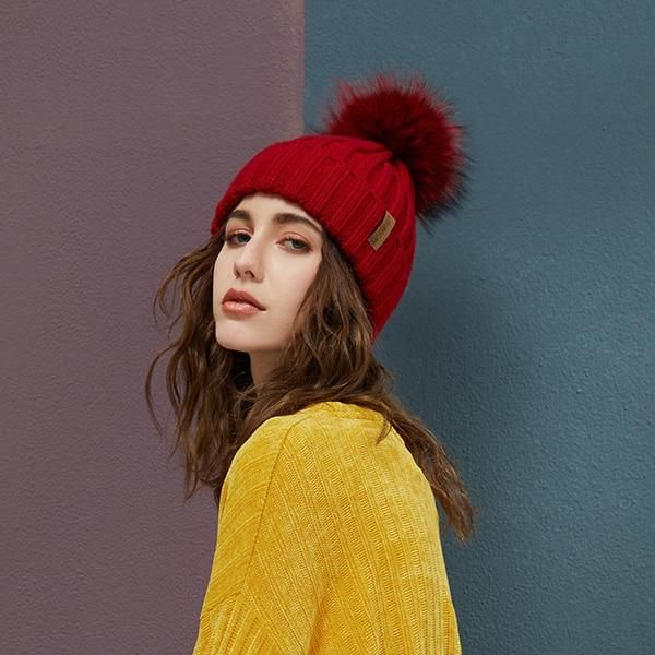 1595f177 Real Raccoon Fur Pom Poms Beanies Winter Hat Female For Women Knitted  Cotton Thick Cap 2018