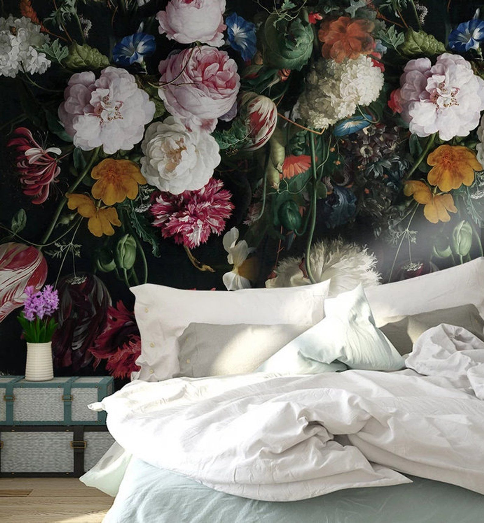 3d Vintage Dark Floral Removable Wallpaper Peel And Stick Wall