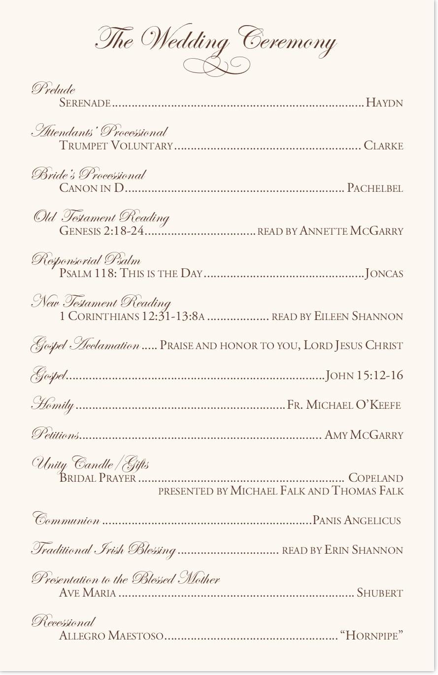 Edwardian Watermark Wedding Programs in 2019 Catholic