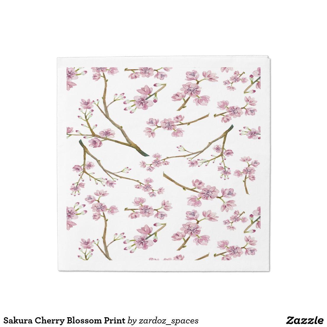 Sakura Cherry Blossom Print Napkin #sakura #cherryblossom #cherryblossoms #pattern #spring #summer #blossom  #napkin