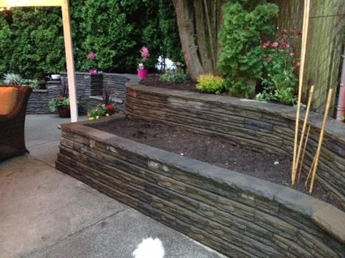 4 In X 12 In X 7 5 In Charcoal Tan Concrete Retaining Wall Block 86935 The Home Depot Concrete Retaining Walls Natural Stone Retaining Wall Back Garden Landscaping