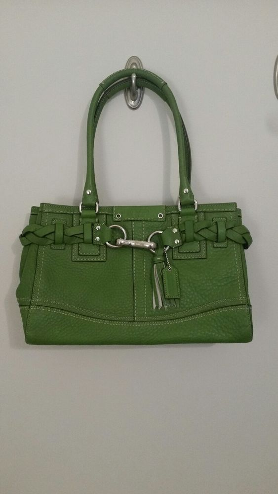AUTHENTIC COACH GREEN LEATHER HANDBAG  THE SOFT PEBBLE COLLECTION  Coach   ShoulderBag a216bc97e05ab