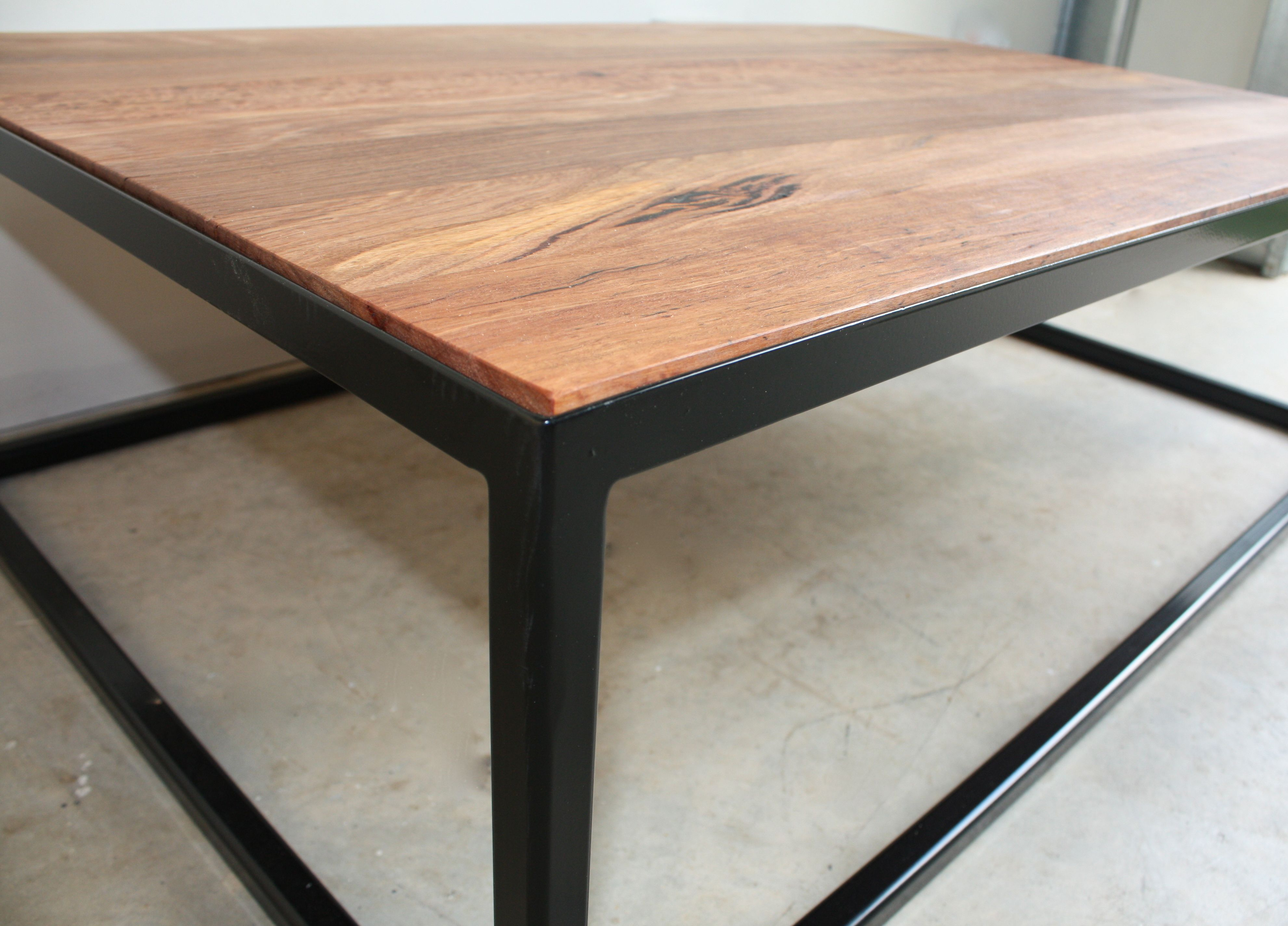 The James Coffee Table By Woodspoke Recycled Messmate Top Recessed In To Black Steel Powder Coated Coffee Table Metal Frame Custom Made Furniture Coffee Table