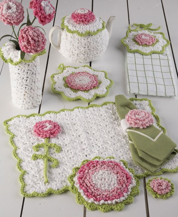 Carnation Kitchen Set Crochet Pattern PDF | Tejido, Ganchillo y Cocinas