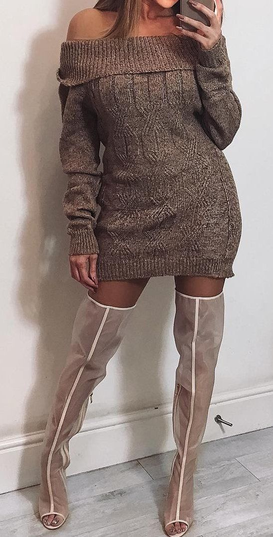 outfits  fall  fashion Shoulderless Sweater Dress    Over The Knee Boots f214439bf