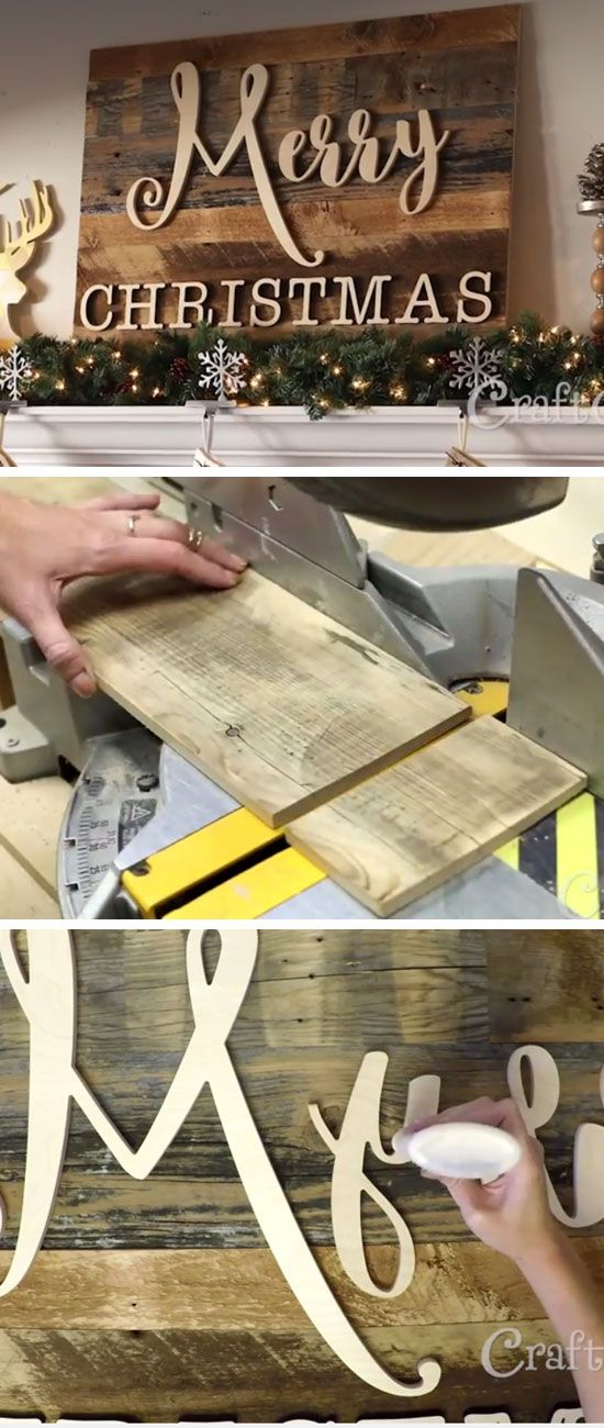 DIY Wooden Christmas Sign | DIY Rustic Christmas Decorations Cheap | Homemade Christmas Decor Ideas on a Budget