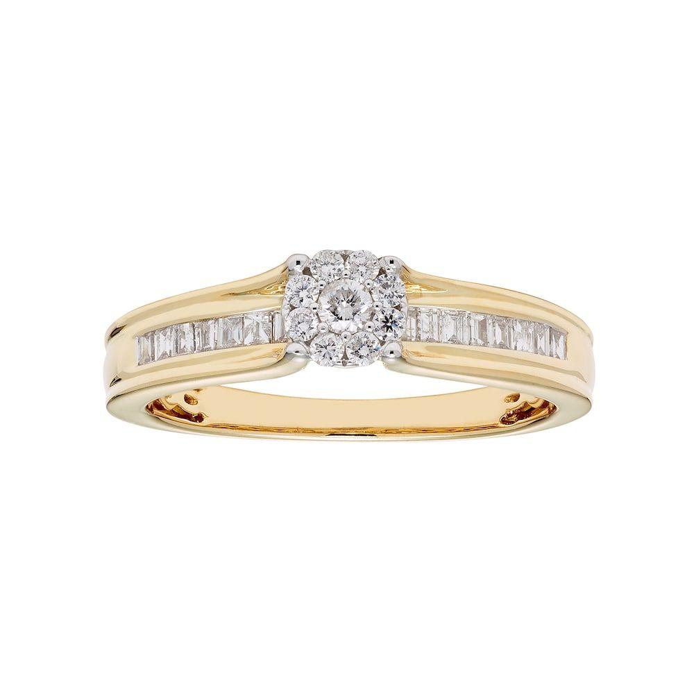 8ee612789 Lovemark 10k Gold 1/3 Carat T.W. Diamond Cluster Ring, Women's, Size: 7,  White