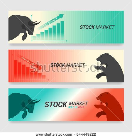 Stock Market Concept Banner With Bull Vs Bear Are Facing And