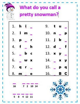 Alphabet Missing Letter Winter Snowman Riddles Jokes