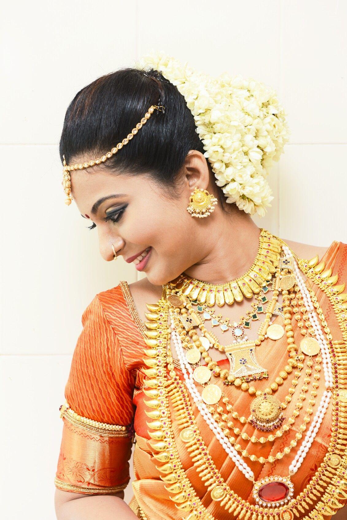hindu bride, nose stud, kerala traditional jewellary, orange