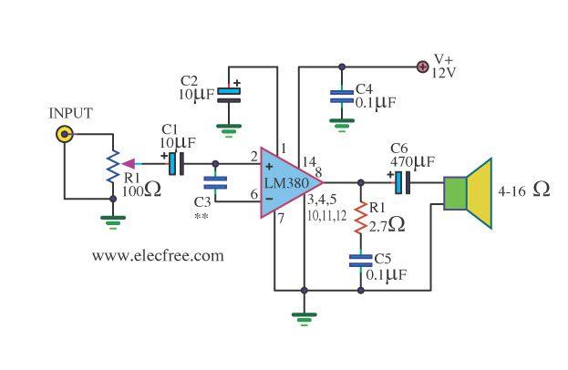 mini audio amplifier circuit schematic electronics audio amplifier audio electronics. Black Bedroom Furniture Sets. Home Design Ideas