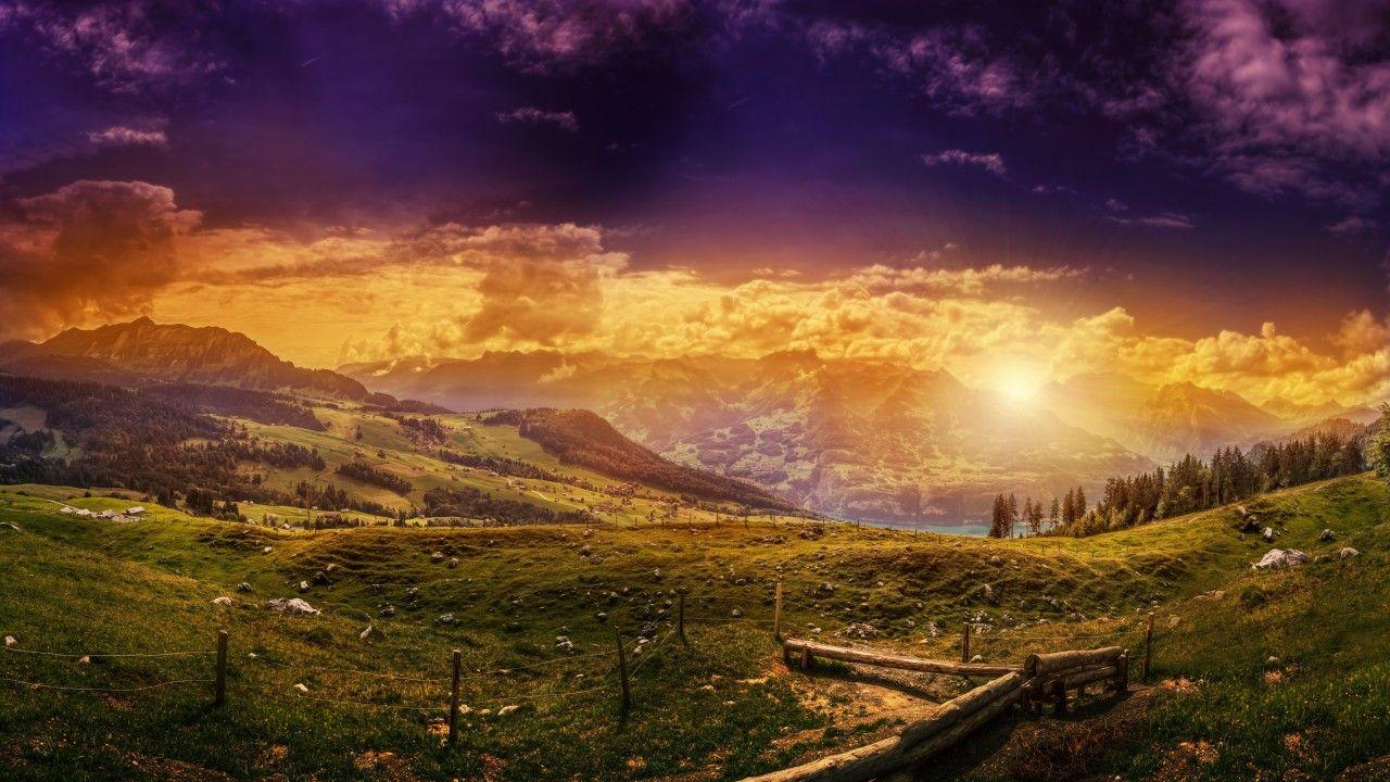 Switzerland, 5k, 4k wallpaper, 8k, HD, Mountains, sunset