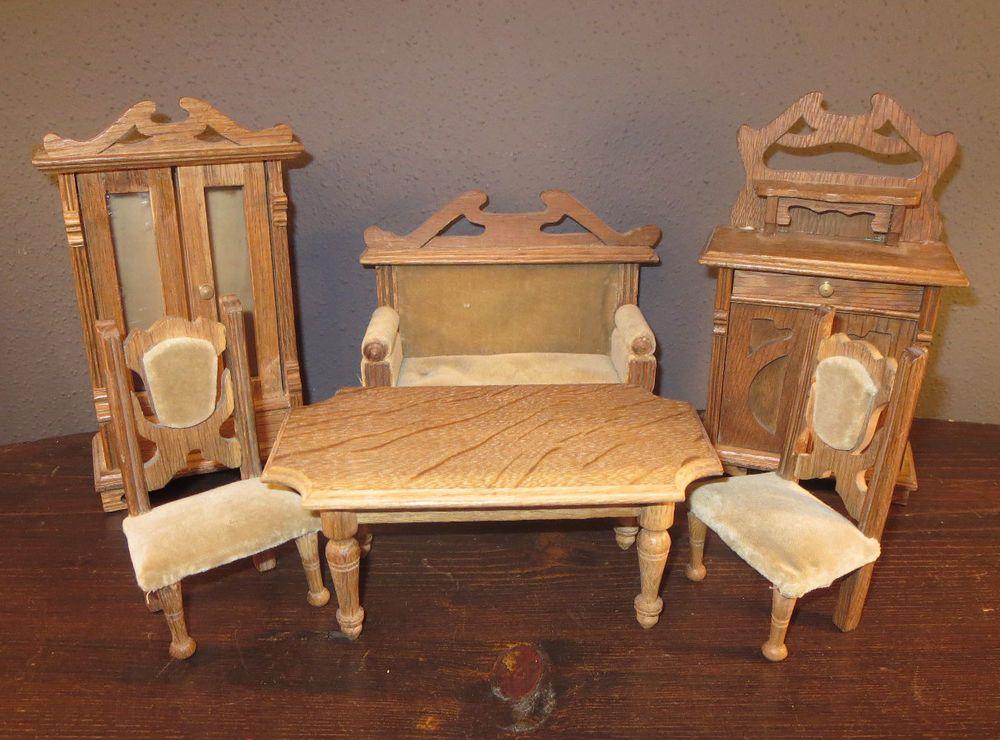 antikes gr nderzeit wohnzimmer um 1900 6 m bel f r die puppenstube puppenk che gr nderzeit. Black Bedroom Furniture Sets. Home Design Ideas