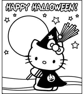 Disegni di Halloween da stampare e colorare - Halloween Hello Kitty ...