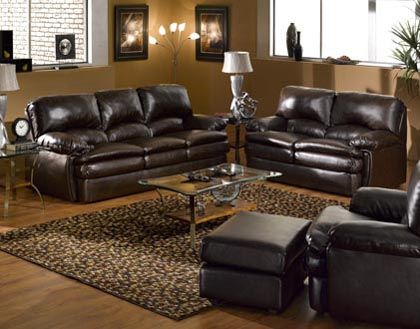 living room sets furniture color chocolate brown leather | leather ...