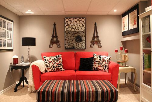 Pin Vct Deco Hogar Living Room Red Sofa Couch
