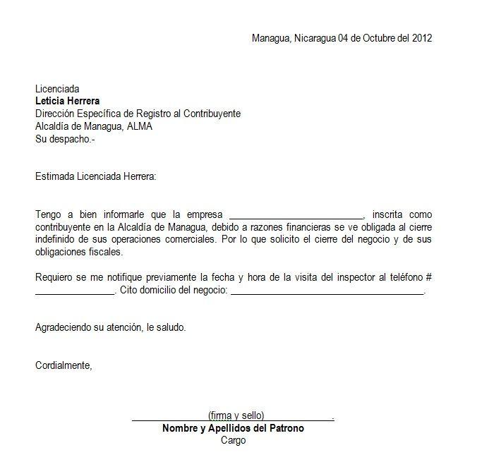 Carta de solicitud de cierre del negocio en 676 for Solicitud de chequera