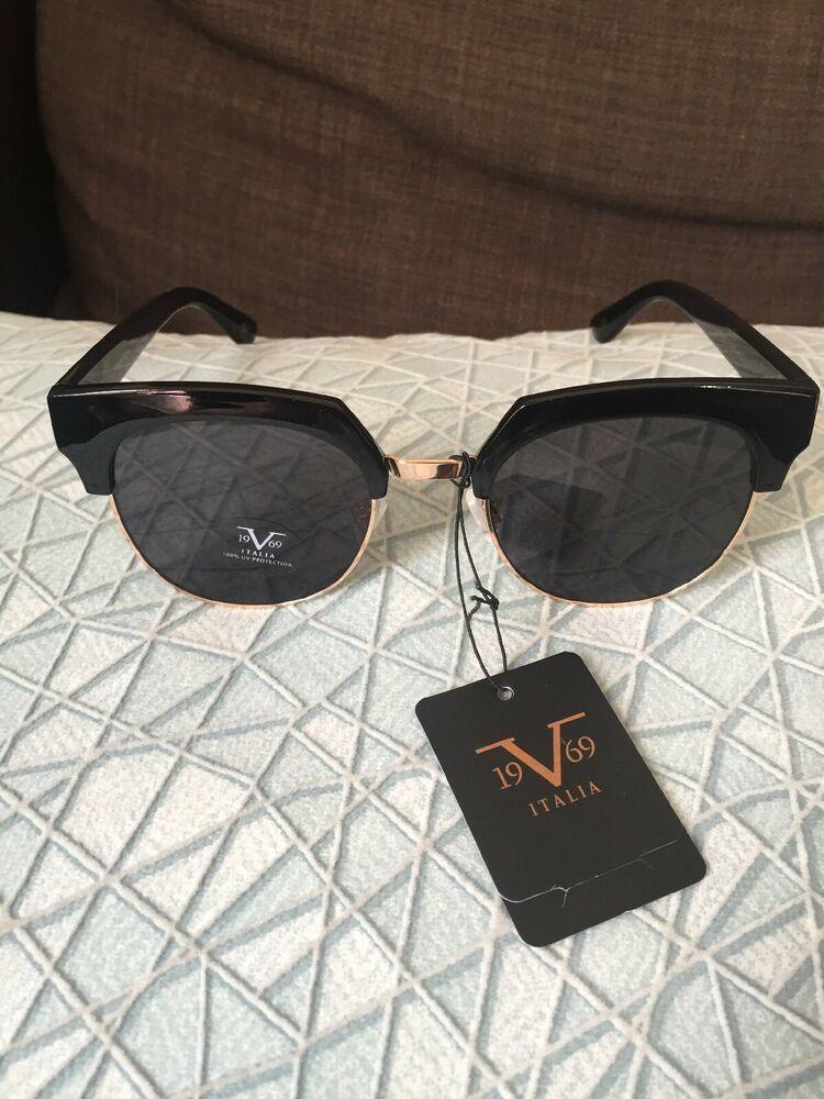 2c5878596495 19V69 Italia Versace 1969 BLK Valentina Black Gold Sunglasses NWT | eBay