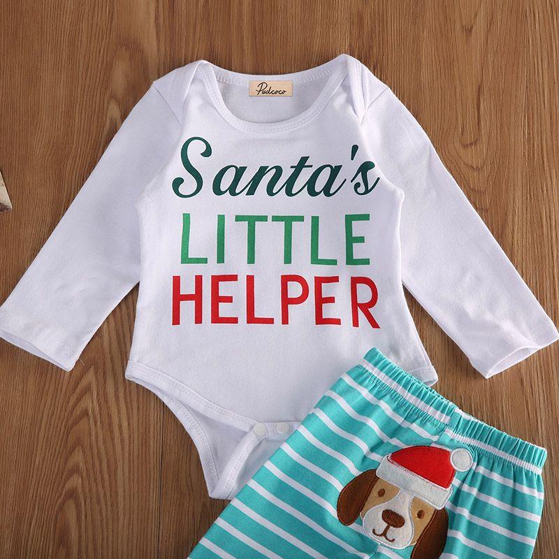 2017 Newborn Baby Christmas Clothes Santa S Little Helper Long