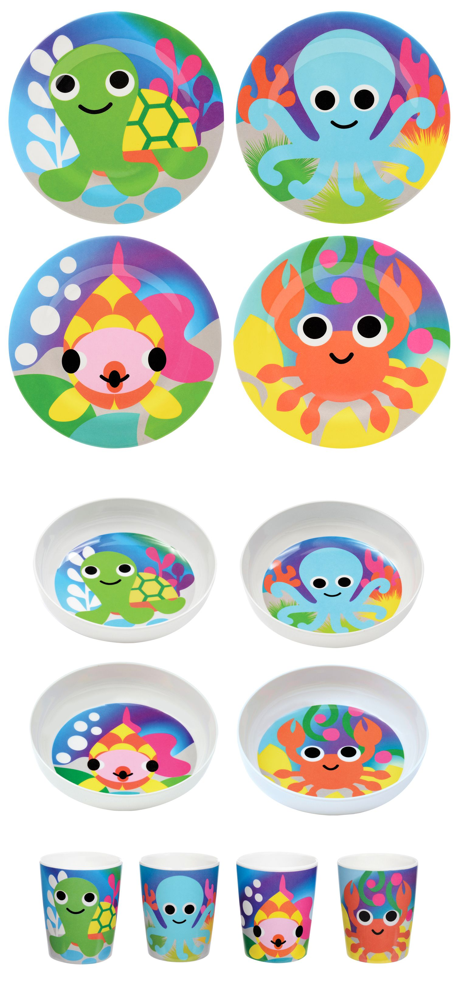 French Bull OCEAN COLLECTION: melamine, kids plates, kids bowls, kids juice cups, BPA-free, kid friendly tableware, safe indoors and outdoors, scratch and shatter resistance, dishwasher safe, Turtle, Octopus, Crab, Fish