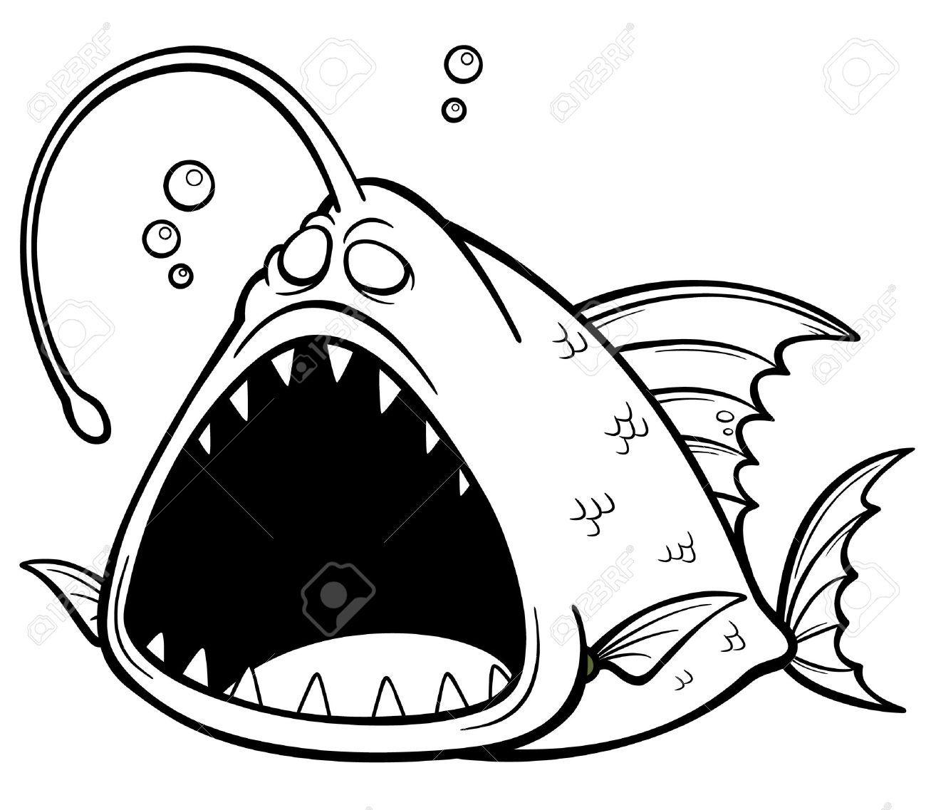 Ilustración Vectorial De Dibujos Animados De Pescado Enojado - Libro ...