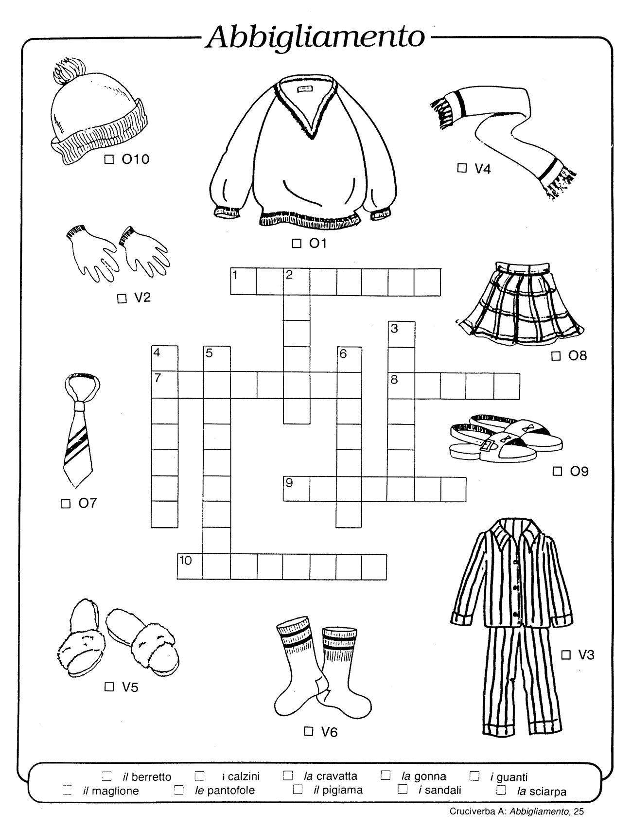 Abbigliamento italiano pinterest learning italian for Cruciverba da stampare facili
