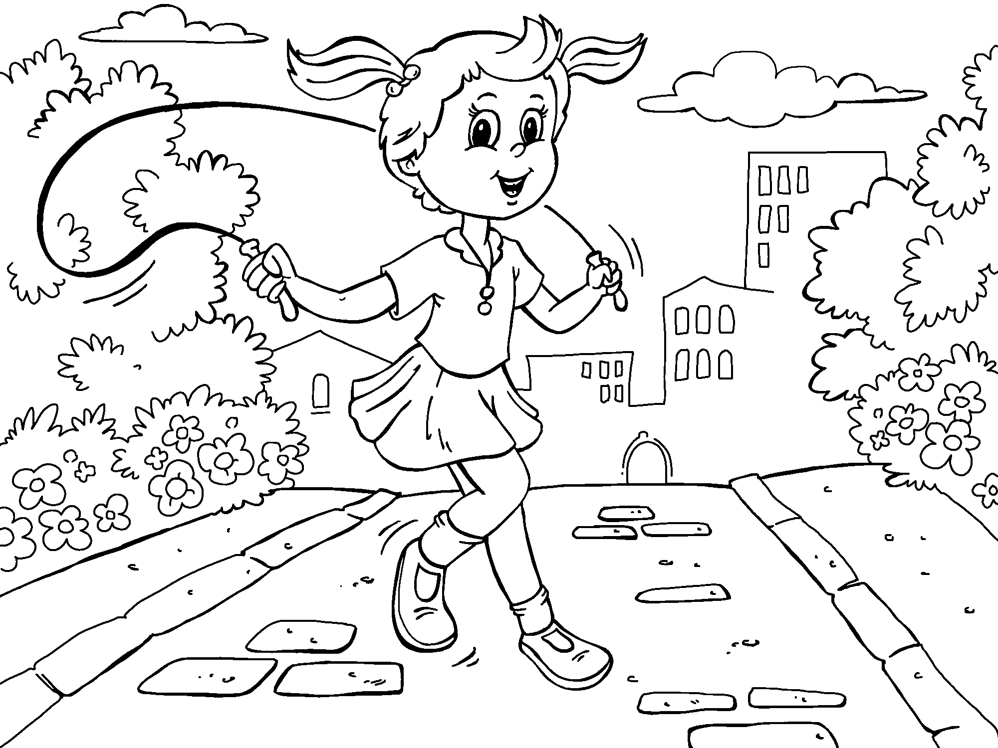 Girl Skipping Coloring Page Online Coloring Pages Kids Playing Online Coloring