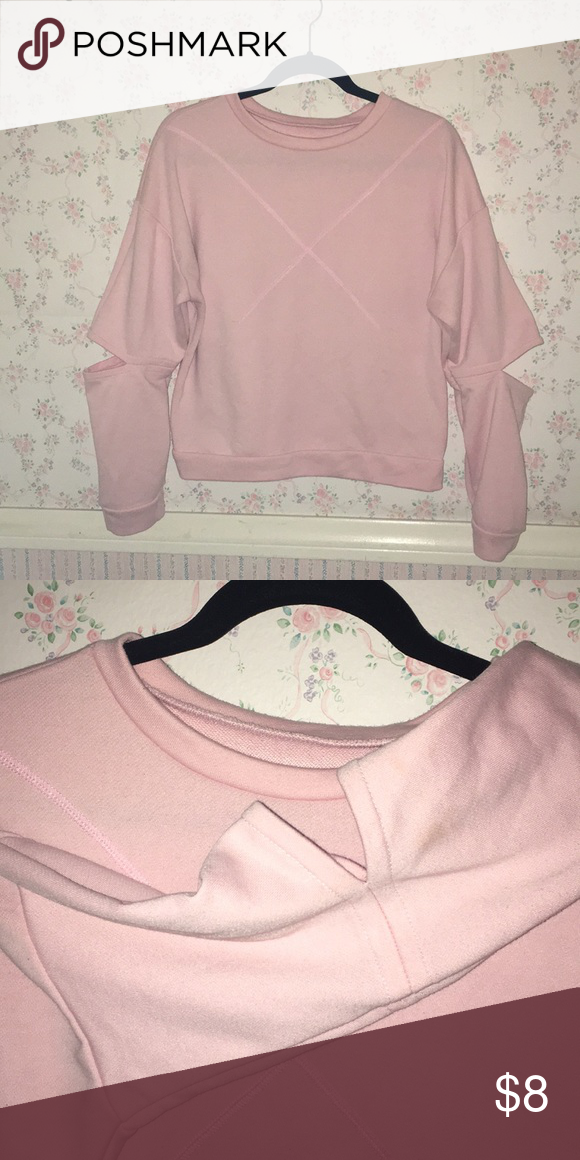 Light Pink Trend Setter Crew Neck Sweater Light Pink Sweater X Stitched On Chest Elbow Slits 95 Cotton 5 Spa Light Pink Sweaters Sweaters Crew Neck Sweater